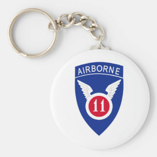 11th Airborne Division Basic Round Button Key Ring