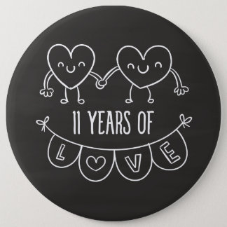 11th Anniversary Gift Chalk Hearts 6 Cm Round Badge