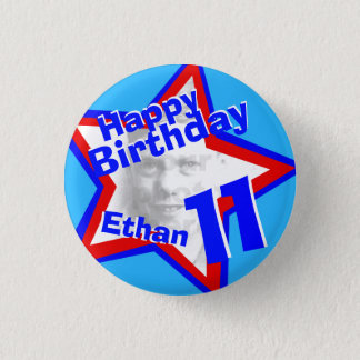 11th Birthday photo Boys red blue button/badge 3 Cm Round Badge