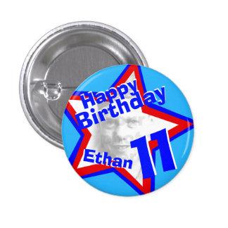 11th Birthday photo Boys red blue button/badge 3 Cm Round Badge
