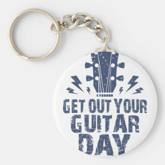 11th February - Get Out Your Guitar Day Basic Round Button Key Ring