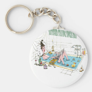 11th February - Satisfied Staying Single Day Basic Round Button Key Ring
