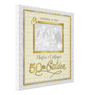 11x11-inch Golden 50th Wedding Anniversary Photo Canvas Print