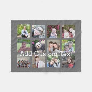 12 Photo Collage with Charcoal Grey Background Fleece Blanket