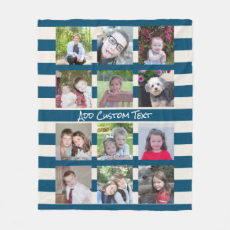 12 Photo Instagram Collage with Blue Ivory Stripes Fleece Blanket