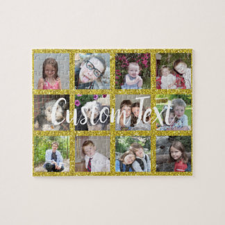 12 Photo Instagram Collage with Faux Gold Glitter Jigsaw Puzzle