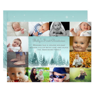 12 Photo Winter Landscape Collage - 5x7 Baby Card