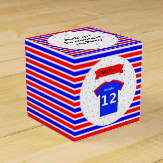 12th birthday custom name red blue party favour box