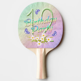 12th Birthday Party Rainbow and Butterflies Ping Pong Paddle