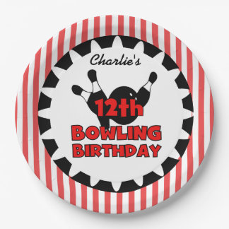 12th Bowling Sports Happy Birthday Paper Plate