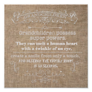 12x12 Grandchildren Burlap Poster Digital Wall Art