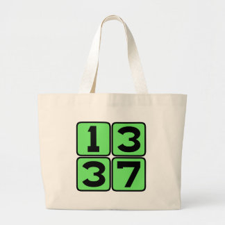 1337 Leet Leetspeak Eleet Internet Meme Slang Large Tote Bag