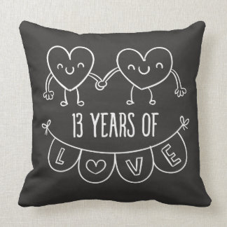 13th Anniversary Gift Chalk Hearts Throw Pillow