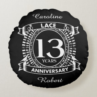 13TH wedding anniversary lace Round Cushion