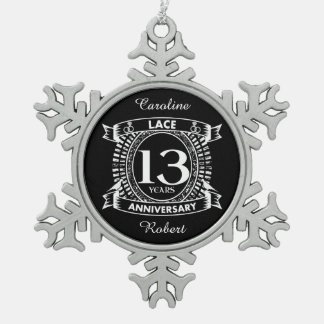 13TH wedding anniversary lace Snowflake Pewter Christmas Ornament
