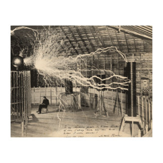 "14""x11"" Nikola Tesla in His Lab Wood Wall Art"