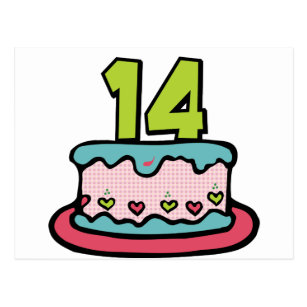 14 year old party birthday cards invitations zazzle 14 year old birthday cake postcard bookmarktalkfo Image collections