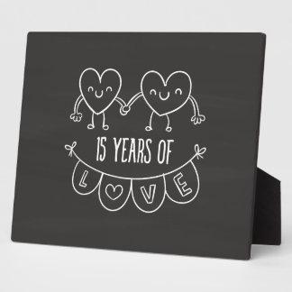 15th Anniversary Gift Chalk Hearts Photo Plaque