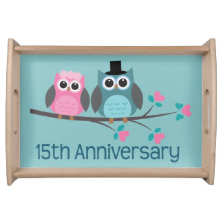 15th Anniversary Owl Couple Serving Tray