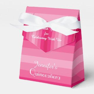15th Birthday Quinceañera Favor Box, Pink Stripes Favour Box