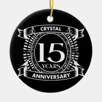 15TH wedding anniversary black and white Christmas Ornament
