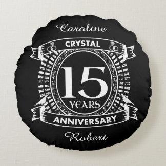 15TH wedding anniversary black and white Round Cushion