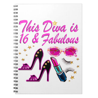 16 AND FABULOUS DIVA SPIRAL NOTEBOOK