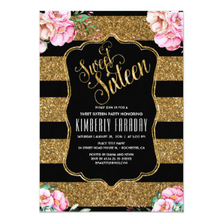 16 Birthday Party - Sweet Sixteen Gold Glitter Card