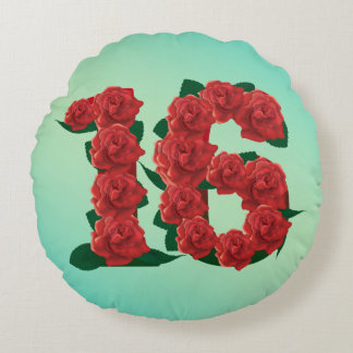 16 number birthday anniversary 16th red rose text round cushion
