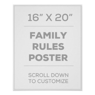 """16"""" x 20"""" Family Rules Poster"""