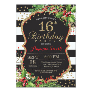 16th Birthday Invitation. Christmas Red Black Gold Card