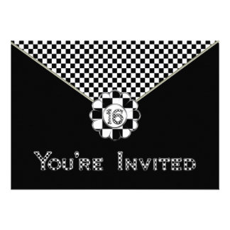 16th BIRTHDAY PARTY INVITATION - BLK WHT ENVELOPE