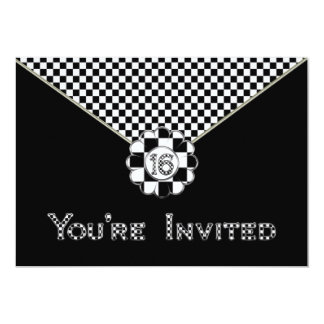 "16th BIRTHDAY PARTY INVITATION - BLK/WHT ENVELOPE 5"" X 7"" Invitation Card"