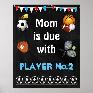 16x20 Pregnancy announcement Sign sports boy