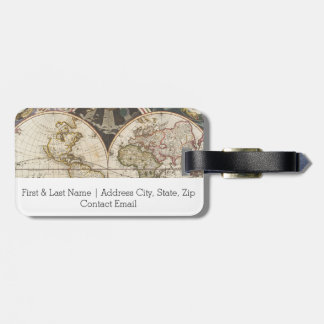 1702 A new map of the world Luggage Tag