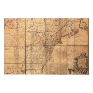 1757 British French Dominions North America Map Wood Print