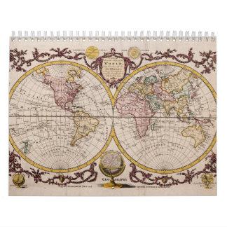 1782 Map of the World by George Augustus Baldwyn Calendar