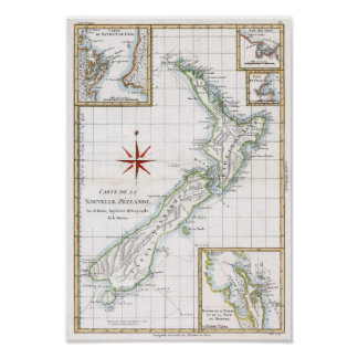 1787 New Zealand Map Poster