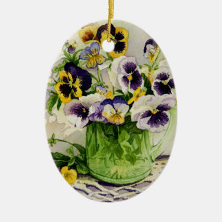 1794 Pansies in Green Glass Pitcher Christmas Ornament
