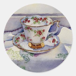1799 Teacup on Linen Round Sticker