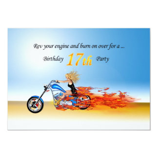 17th birthday Flaming motorcycle party invitation