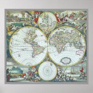 17th Century Antique World Map, Frederick De Wit Poster