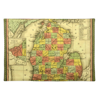 1853 Vivid Map of Michigan Show true allegiance MI Placemat