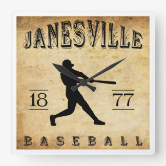 1877 Janesville Wisconsin Baseball Square Wall Clock