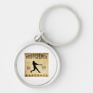 1877 Providence Rhode Island Baseball Silver-Colored Round Key Ring
