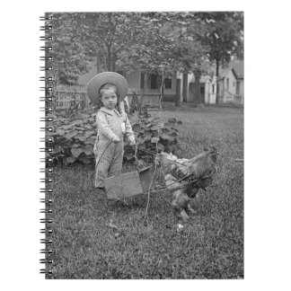 1880's Adorable Girl and Rooster Cart in Garden Spiral Notebook