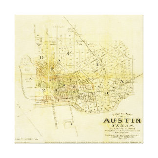 1885 Historic Austin Map Canvas Print