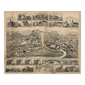 1888 Lonsdale, Lincoln, RI Birds Eye Panoramic Map Poster