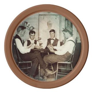 1890 Poker Game Men Gambling Cards Man Cave Photo Poker Chips