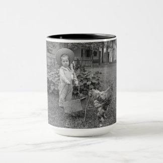 1890's Garden LIttle Girl With Rooster Cart Photo Mug